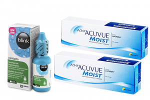 × 1 Day Acuvue Moist (30 db) + 1× Blink Contacts (10 ml), napi kontaktlencse + szemcsepp