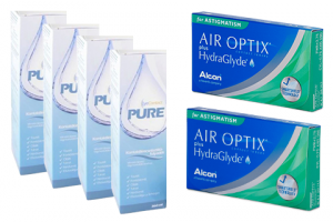 × Air Optix For Astigmatism (6 db) + 4× EyeContact PURE (360 ml) havi kontaktlencse