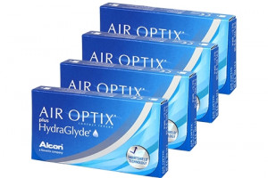 4× Air Optix Plus HydraGlyde (6 db) havi kontaktlencse