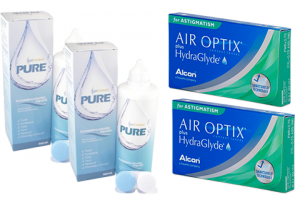 2× Air Optix plus HydraGlyde for Astigmatism (3 db) + 2× EyeContact PURE (360 ml)