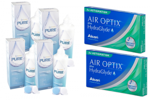 2× Air Optix plus HydraGlyde for Astigmatism (6 db) + 4× EyeContact PURE (360 ml)