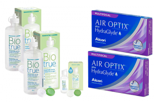 2× Air Optix plus HydraGlyde Multifocal (3 db) + 2× Biotrue (300 ml) + 1× Biotrue (60 ml)