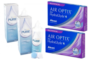2× Air Optix plus HydraGlyde Multifocal (3 db) + 2× EyeContact PURE (360 ml)