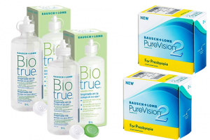 2× PureVision 2 Multi-Focal For Presbyopia (6 db) + 2× Biotrue (300 ml) havi kontaktlencse