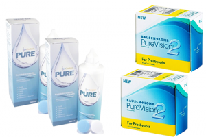 2× PureVision 2 Multi-Focal For Presbyopia (6 db) + 2× EyeContact PURE (360 ml)
