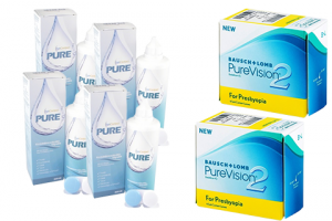 2× PureVision 2 Multi-Focal For Presbyopia (6 db) + 4× EyeContact PURE (360 ml)